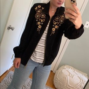 Vintage Teddi Floral Embroidered Bomber Jacket